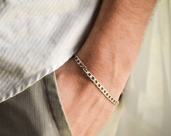 Silver links chain bracelet for men, flat chain, groomsmen gift, gift for him, mens jewelry, gift for boyfriend, silver
