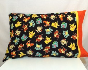Pokemon character on black background pillow case