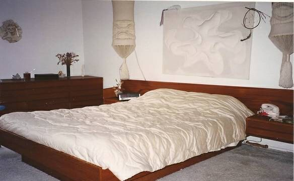 1960 s teak modern platform bed with floating nightstands for Matching bed and dresser