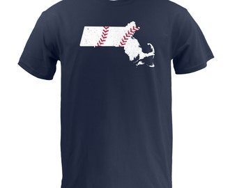 Massachusetts Baseball (White/Red) - Navy