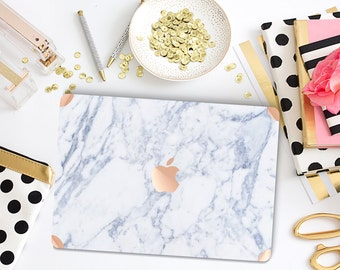 Makrana White Marble with Rose Gold Accents Hybrid Hard Case for Apple Macbook Air , Mac Pro Retina, New Macbook 12""