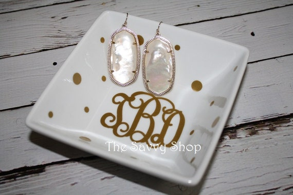 Items similar to monogrammed jewelry holder monogrammed for Bathroom jewelry holder