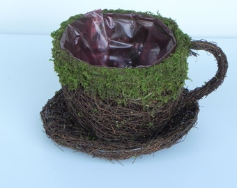 Tea Cup Planter moss and angel vine twig container with liner fairy garden supply