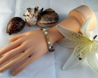Aventurine, Freshwater Pearl and Muscovite Bracelet
