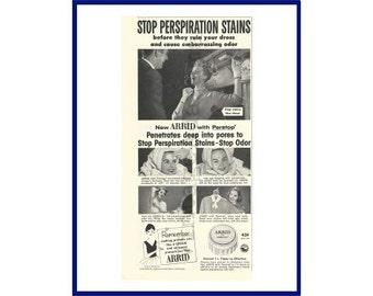 "ARRID ANTIPERSPIRANT / DEODORANT Original 1957 Vintage Black & White Print Ad - ""Stop Perspiration Stains"" Subway Scene"