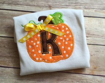 Pumpkin Initial Onesie or Shirt (personalized)