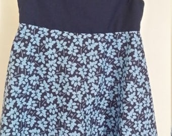 Blue flared skirt dress