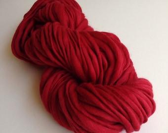Handspun Thick and Thin Merino Wool Yarn - 50 yards - Cinnabar Red