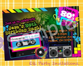 I love the 80's Invitation - Printable