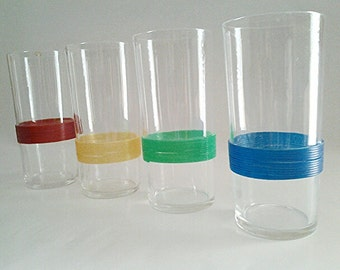 Vintage Federal Glass Company Tumblers (4) Striped/Banded Colors, 1950s Collectible Kitsch/Barware/Made In The USA/Replacements/Retro