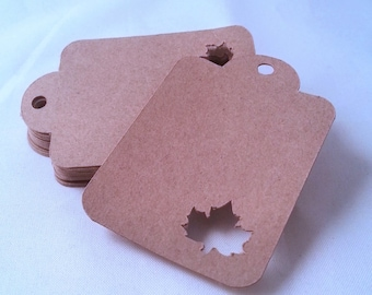 50 natural paper tags MAPLE LEAF- choose the color you like!