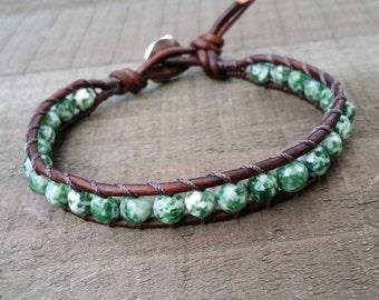 tree agate leather wrap bracelet single wrap bracelet antique brown leather boho bracelet earthy bracelet