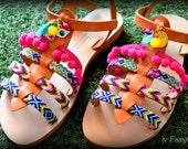 Boho Gladiator Sandals- Pom Pom Sandals