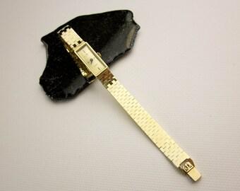 Baume & Mercier 14K Vintage Watch 1980s Quartz Dress Watch, Blue Sapphire Crystal, Crown, Swiss.