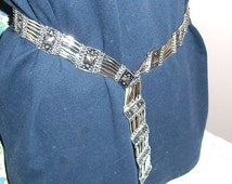 Reduced...Vintage Mexico Silver Link BELT...Repousse Links...Five Clasps.....Alternate Bracelet...Necklace....Circa 1950s/ 1960s