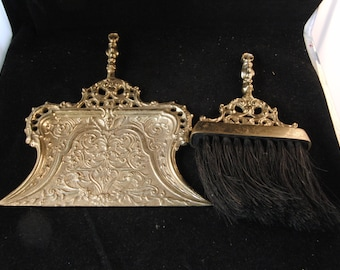 Victorian style dust pan and brush