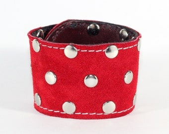 Red Suede Flat Studded Cuff - Red Leather Cuff with triple row flat studs - Made In USA