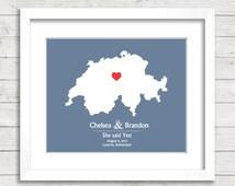 8x10 Switzerland Wedding Map - Lucerne, Switzerland - Love Map - European - Destination Wedding - Engagement & Anniversary - Newlyweds