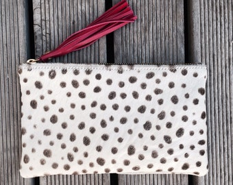 SMALL White Cheetah Natural Cows Hide Clutch- Animal Print Pouch with Suede Lining & Leather Tassel