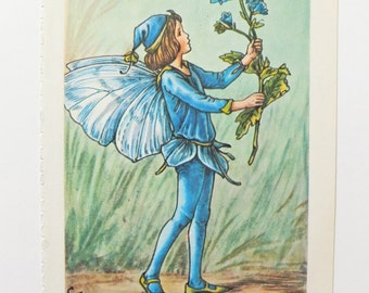 Speedwell Fairy, Flower Fairies Print, Vintage Bookplate, playroom decor, nursery art, child's bedroom