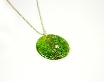 Green round pendant, Fresh green necklace, Polymer clay pendant, Gift for her, Organic boho pendant, Everyday jewelry, Feminine necklace
