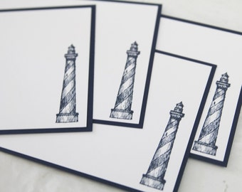 Lighthouse All Occasion Flat Note Cards Set of Ten, Masculine Stationery, Note Cards for Him, Lighthouse Thank You Cards