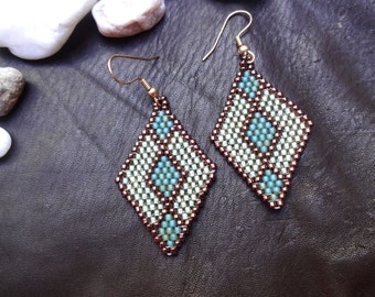 Native American style/Art deco style beaded earring, turquoise and bronze
