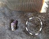 amethyst & bone hair pipe bracelet, healing spirit, tribal jewelry, handmade native american, powwow, rendevous, positive energy