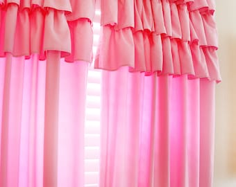 Bubble Gum Pink Ruffle Curtain Panel