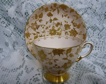 Vintage Chintz Tuscan Pink and Gold Cup and Saucer