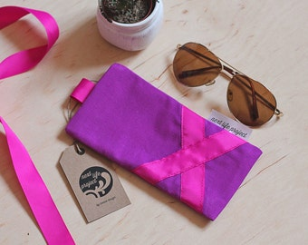 Upcycled cotton sunglasses case / violet sunglass case / perfect gift