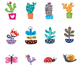 Cactus plant clip art for instant download and printing.