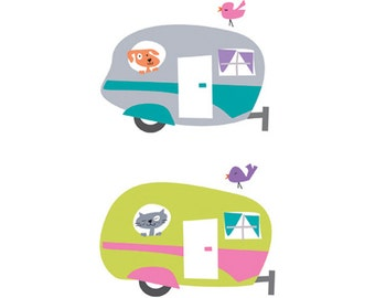 Caravan clip art, retro caravan graphic, caravan, instant download for printing.