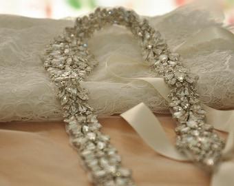 Free Shipping to USA Gorgeous Rhinestone Applique , Full Waist Crystal Beaded Applique for Bridal Sash, Wedding Belt