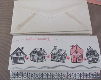 Vintage Note Card Set, 1960's Hallmark Moving Note Cards, Vintage Stationery, Blank Note Cards