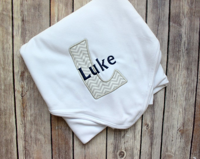 Personalized Baby Blanket - Personalized Boy's Baby Blanket, Applique Boy Baby Blanket,  Monogrammed Blanket for Baby Gift, New Baby Gift