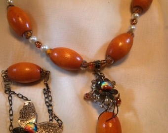 Orange Wooden Butterfly Necklace, Earrings and Bracelet Jewelry Set