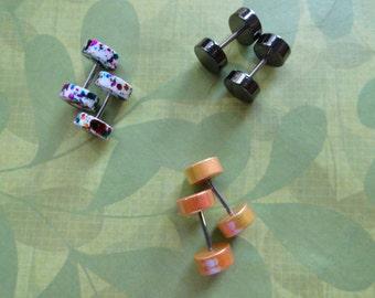 Fake plug  barbell stud earrings