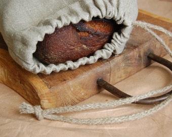 Linen storage bag, organic bags, natural linen bread bag with handmade flax cord, linen bread bag, drawstring food bag, set of linen bags