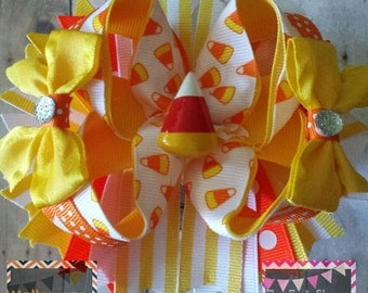 Halloween candy corn boutique hair bow