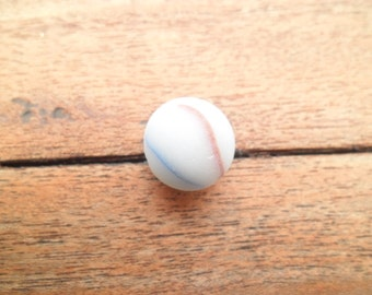 Rare Sea Glass Marble Genuine English red, White, Blue, Yellow Sea Glass Marble Rare UK Sea Glass Marble Milky Swirling Frosted Marble BA