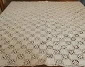 Vintage Reticella Lace Italian Lace Floral Squares Table Cloth Needle Lace