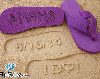 I Do Flip Flops Wedding Date Bridal Custom Sand Imprint