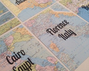 Vintage Map Table Names. Wedding Decor. Table Numbers. Travel theme.