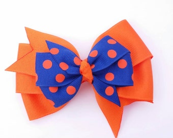 Blue and orange hair bow, blue and orange polka dot, back to school bow, football team colors, grosgrain ribbon, school colors, layered bow