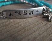 Amen Bracelet, Hand Stamped Pewter Bracelet, Stamped jewelry, Boho Bracelet, stamped bracelet