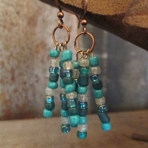 Turquoise Beaded Earrings, Turquoise Earrings, Seed Bead Earrings on Copper Rings, Seed Bead Earrings, Boho Earrings