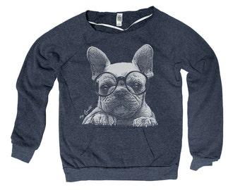 French Bulldog Hand Screen Print Alternative Apparel Eco-Fleece Maniac Sweatshirt