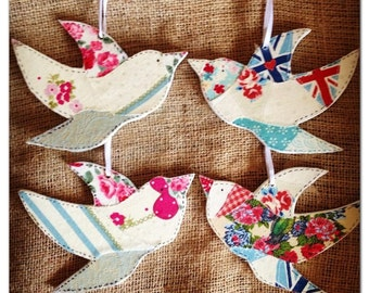 Swallow Decoration. Handcrafted Wooden Bird Decoration With Different Patchwork Designs. Personalisations Available.