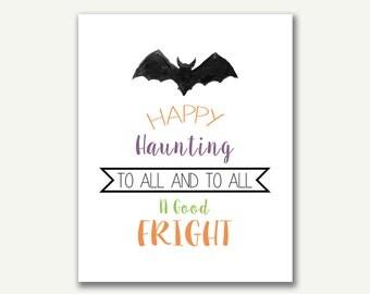 Halloween Print - Watercolor - Instant Download - 8x10 - 16x20